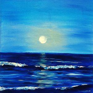 Луна и море - маслени бои/акрилни бои - видео урок