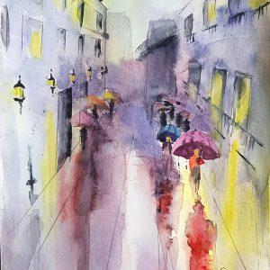 Дъждовна улица / акварел