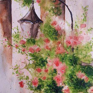 Уличен фенер и рози / Акварел