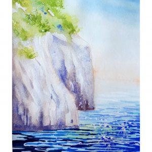 Морски залив с борове / акварел